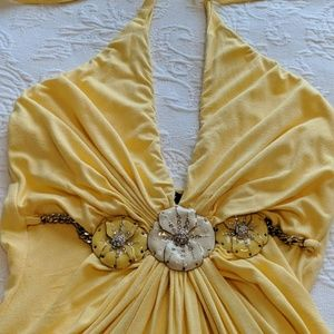 Sky Tops - Sky floral jeweled halter top